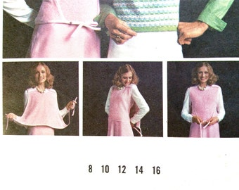 Wrap 70s Butterick Misses' fitted sleeveless wrapped sweater V-neckline Vintage Sewing Pattern wrap and go sweater Easy  Bust 34 inches