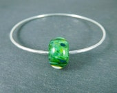 Bright Apple Green Glass Bracelet, Simple Bangle Bracelet, Minimalist Jewelry, Silver Stacking Bangle Hammered Silver Bracelet Boho Bracelet