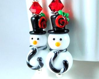 Snowman Dangle Earrings, White Black Red Winter Earrings, Christmas Earrings, Holiday Jewelry, Funny Earrings, Lampwork Glass Earrings