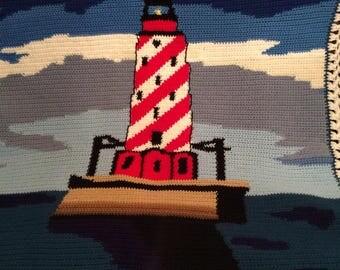 White shoal lighthouse crochet blanket throw afghan