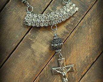 Vintage MUSI Rhinestone Freshwater Pearl Necklace