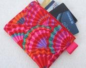 Paper Fans Kaffe Fasset Fabric Zippered Credit Card Case Womens Card Holder Coin Purse Wallet Business Card Case Purple Pink Red Orange