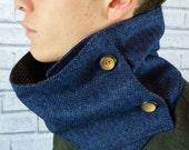 Mens Neckwarmer Scarf - Yorkshire Tweed, Navy Herringbone