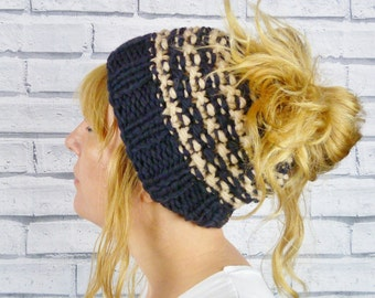 Messy Bun Hat - Chunky Knit Charcoal and Ecru, pony tail hat, knitted hat
