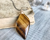 Tigers Eye Necklace, Gold Necklace, Sterling Silver NevklCe Healing Tigers Eye Pendant, Black Necklace, Natural Healing Stone Necklace