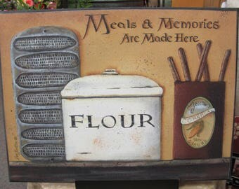 Kitchen Wall Decor,Memories Made Here,Flour Canister,Country Kitchen Decor,Primitive Kitchen,Wood Art Sign,Pam Britton,SALE!!