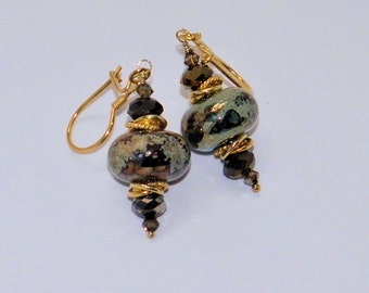 Earring set with Lampwork beads, Vermeil gold, Bronze Crystal beads, Wedding,Christmas Gift, Glass Earrings,