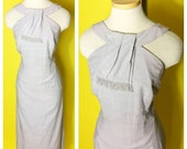 Vintage 1950s Grey Wiggle dress XL  Herman Marcus Dallas