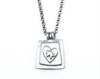 Autism Awareness Locket Charm - Contemporary Pewter Necklace