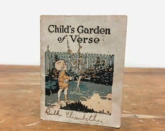 Antique Miniature Poetry Book from 1917 - Child's Garden of Verse Booklet with Advertising - Brenneman's Bread