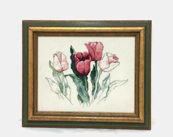 Vintage Framed Needlepoint - Pink Tulips Flowers - Floral Crewel Work - Fiber Art