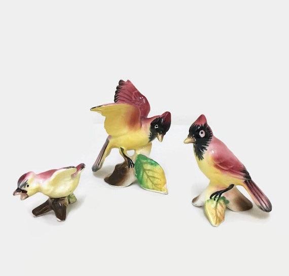 Set of Three Bird Figurines - Bone China Animal - Vintage Miniature Collectible