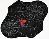 Light Hemp Core- Spiderwebs Reusable Cloth Pantyliner Pad- WindPro Fleece- 8.5 Inches