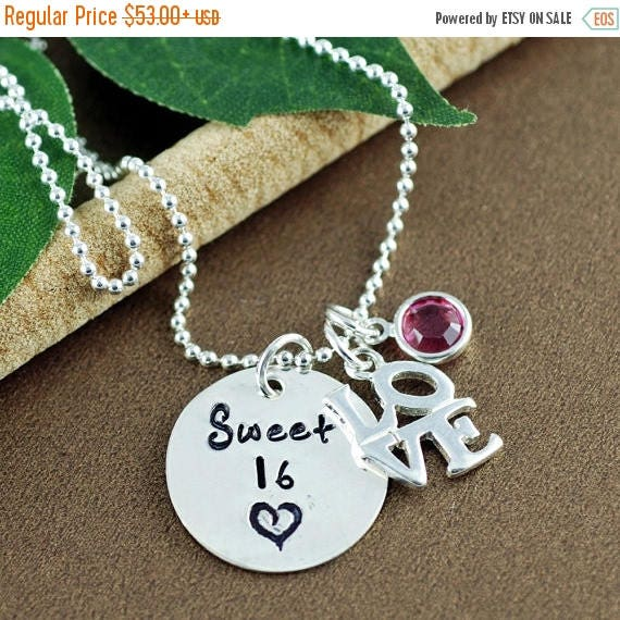 15% OFF SALE Personalized Sweet 16 Necklace, Gift for Sweet 16, Hand Stamped 16th Birthday Jewelry, Sweet 16 necklace for Daughter, Sweet 16