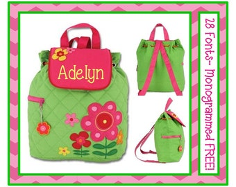 28 Fonts- Small Toddler Girl's FLOWERS Personalized Backpack- Quilted Preschool Book Bag Monogrammed FREE