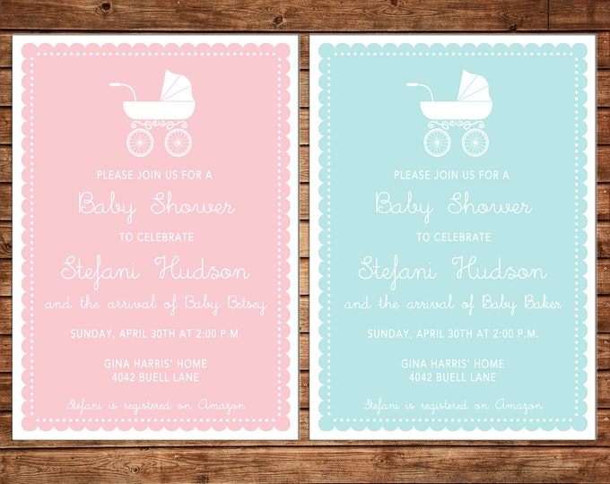 Girl or Boy Monogram Scallop Shower Sprinkle Party Birthday Pram Baby Carriage Invitation - DIGITAL FILE