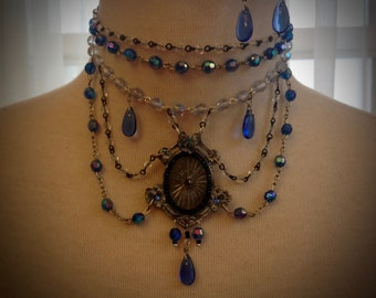 Art Deco Parisan Courtesan Sparkling Steampunk Sapphire Elegant Necklace and Earrings set