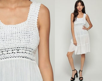 White Crochet Dress 90s Mini Boho Babydoll SHEER Cotton Gauze Grunge Cut Out 1990s Vintage Bohemian Cutwork Summer Sundress Extra Small xs