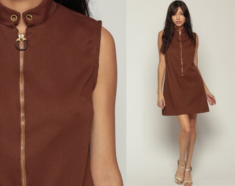 60s Mod Mini Dress 1960s Scooter Dress Sleeveless Shift Vintage Brown FRONT ZIP Up Plain Sixties Minidress Space Age Gogo Small