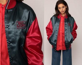 Budweiser Jacket SATIN Bomber Beer Jacket BUD LIGHT 80s Baseball Jacket Shiny Coat 1980s Vintage Red Blue Uniform Retro Large