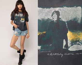 Paul McCartney Shirt 1989 World Tour 1980s Band Tee Vintage Black 80s Rock TShirt Beatles Concert Tour Tshirt Rock Cotton Large