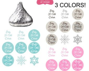 DIY printable stickers Winter snowflake baby it's cold outsite shower favors Digital File  (No.k78)
