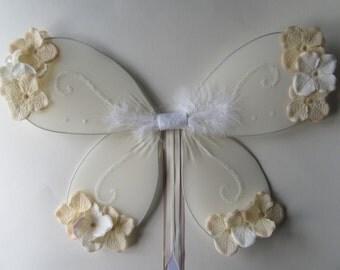 Peach & ivory flower fairy wings, glitter fairy princess, flower girl, country wedding OOAK