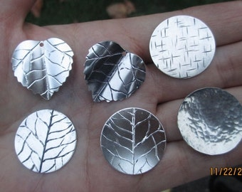 Sterling Silver Leaf Disc, LeafHammered Discs(2,3, or 4 rings)