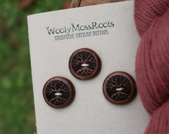 3 Wood Tree Buttons- Mahogany Wood- Wooden Buttons- Eco Craft Supplies, Eco DIY Knitting Supply, Eco Sewing Supplies