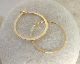 Tiny Gold Hoops, Hammered Solid 14K or Gold Filled Earrings
