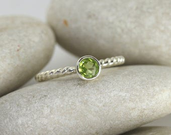 Peridot Silver Ring - Peridot Gemstone Ring in Sterling Silver, Stacking Ring with Textured Band