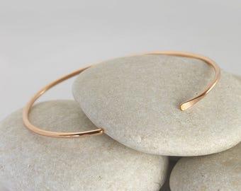 Solid Rose Gold Smooth Cuff Bracelet, Simple 14K Gold Stacking Bracelets