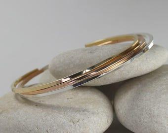 3 Square Cuff Bracelets in Mixed Metals, Simple Cuff Bracelets, Custom Sized