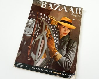 Vintage 1940s Fashion Magazine / Harpers Bazaar Februrary 1943 / Young Lauren Bacall, 40s Fashion Beauty Home Ads