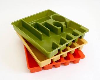 Vintage 1970s Rubbermaid Plastic Flatware Tray VGC, Orange Available