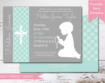 Gray Aqua or Baby Blue Polka Dot First Communion invitation Announcement - Print Your Own