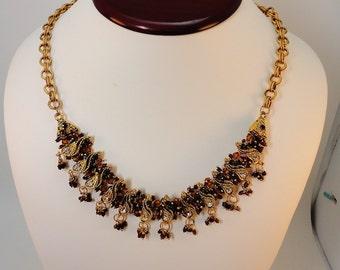 60s  Brown rhinestones/Goldtone Necklace