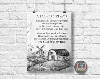 Farmer's Prayer INSTANT DOWNLOAD | JPG Digital | 11x14 | 2 images | Farm Machinery, Farmer Print