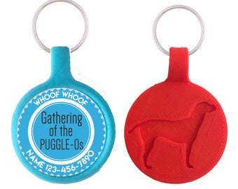 Puggalos Personalized Dog ID Pet Tag Custom Pet Tag You Choose Tag Size & Colors, Available in 11 Colors