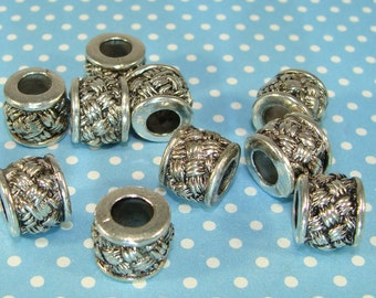 4 Celtic Knot Beads LARGE HOLE Silver Pewter Cylinder 10mm x 9mm w 5mm Hole Spacer Bulk Jewelry Supplies Heavy European Style Bracelet M8