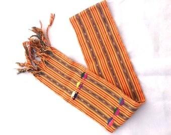 Vintage Orange Ethnic Embroidered Scarf / Orange And Colored FRINGE Runner