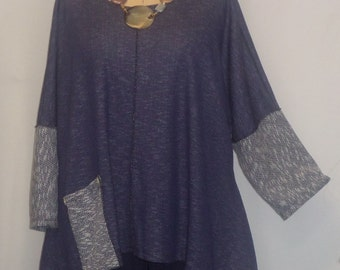 Lagenlook, Plus Size Tunic Top, Coco and Juan, Blue Denim Print Cotton Poly Knit, Angled Tunic Top, One Size Bust  to 60 inches