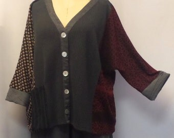Coco and Juan, Plus Size Tunic, Lagenlook Mixed Knit, Gray, Black, Women's  Shirt Jacket, Plus Size Top, #5 OS 1X, 2X, 3X Bust to 66 inches