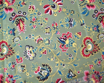Michael Miller Fabric, Martha 3322, Jacobean Print, Floral Fabric, Quilt Quality, Cotton Fabric, One Yard, Olive Green, Quilt Fabric