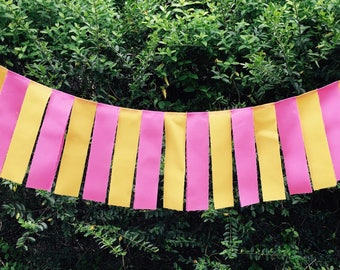 Free USA Shipping/3 foot Pink and Yellow Fabric Banner Garland/Pink Lemonade Fabric Garland/Pink Lemonade High Chair Banner/Pink Photo Prop