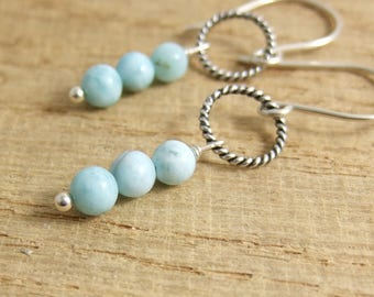 Earrings with Oxidized, Braided Loops and Larimar Beads CHE-327