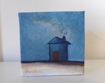 Red Door - Blue House - Small Original Painting