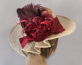 Kentucky Derby hat, Gloria, beautiful womans straw hat, with large deep red flower,  silk dupioni sash and matching feathers