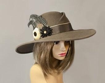 Kathryn,  Velour Felt wide brim womens millinery hat, grosgrain flowers and feathers.