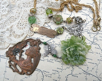 mother peony necklace assemblage spring mom goddess upcycled vintage jewelry woman lady